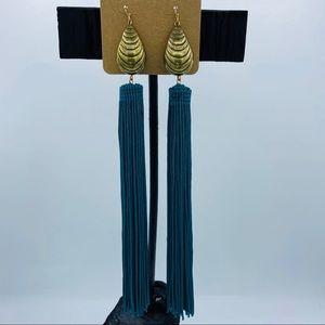 Teal Tassel Drop Earrings